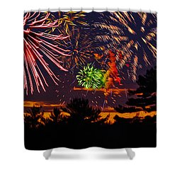 Shower Curtain featuring the photograph Fireworks No.1 by Mark Myhaver
