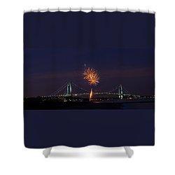 Fireworks On Staten Island South Beach Shower Curtain
