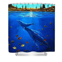 Shower Curtain featuring the painting First Breath by Lance Headlee