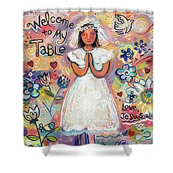 First Communion Girl Shower Curtain by Jen Norton