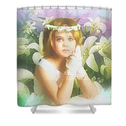 First Communion Shower Curtain by Mo T