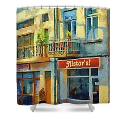 First Customer Of The Day Shower Curtain by Jeff Kolker