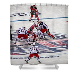 First Faceoff Shower Curtain