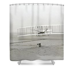 First Flight Captured On Glass Negative - 1903 Shower Curtain by Daniel Hagerman