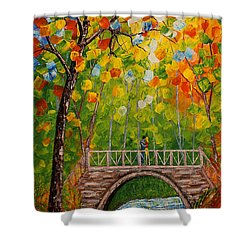 Shower Curtain featuring the painting First Kiss On The Bridge Original Acrylic Palette Knife Painting by Georgeta Blanaru
