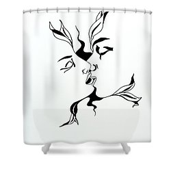 First Kiss Shower Curtain by Yelena Tylkina