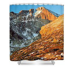 First Light At Longs Peak Shower Curtain by Eric Glaser