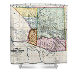 First Map Of Arizona Territory  1865 Shower Curtain by Daniel Hagerman