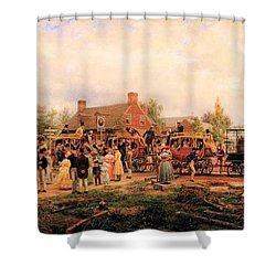 First Railroad Train On The Mohawk And Hudson Shower Curtain by Edward Henry