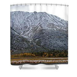First Snow Shower Curtain by Rick  Monyahan