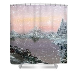First Snowfall Shower Curtain by Alys Caviness-Gober