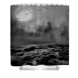 First Snowfall Geese Migrating Shower Curtain