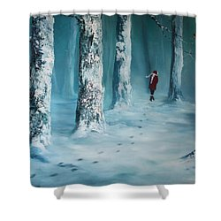 First Trodden Snows Shower Curtain by Jean Walker