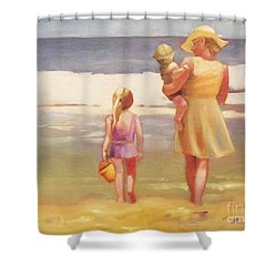 First Waves Beach Waves With Children And Mom  Shower Curtain