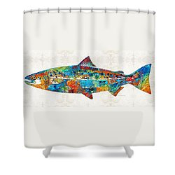 Fish Art Print - Colorful Salmon - By Sharon Cummings Shower Curtain by Sharon Cummings