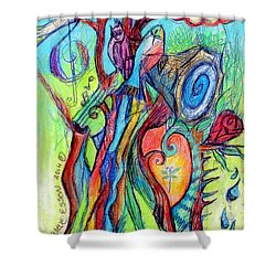 Fish Feather In Teapot Tree Guarded By Human Bird Shower Curtain by Genevieve Esson