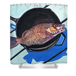Fish Fry Shower Curtain by Susan Duda
