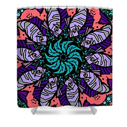 Shower Curtain featuring the digital art Fish / Seahorse #2 by Elizabeth McTaggart