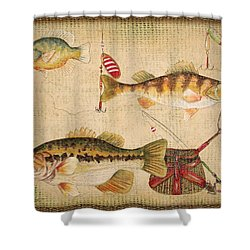 Fish Trio-a-basket Weave Border Shower Curtain by Jean Plout