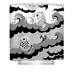 Shower Curtain featuring the digital art Fish Waves by Carol Jacobs