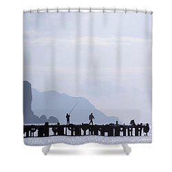 Fisherman At The Pier Shower Curtain