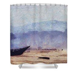 Fisherman Boat On The Goan Coast. India Shower Curtain by Jenny Rainbow