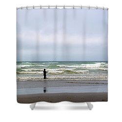 Fisherman Bracing The Weather Shower Curtain by Tikvah's Hope
