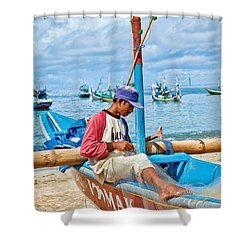 Shower Curtain featuring the photograph Fisherman by Yew Kwang