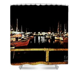Fishermans Wharf At Night San Francisco California Shower Curtain by Jani Bryson