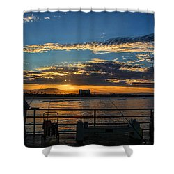 Fishermen Morning Shower Curtain by Tammy Espino