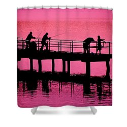 Fishermen Shower Curtain by Raymond Salani III
