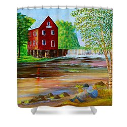 Fishin' At The Old Mill Shower Curtain