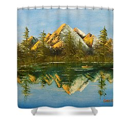 Shower Curtain featuring the painting Fishing At Dusk by Chris Fraser