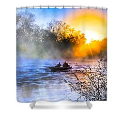 Fishing At Sunrise On The Flint River Shower Curtain by Mark E Tisdale
