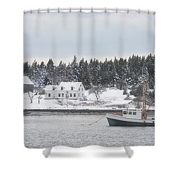 Fishing Boat After Snowstorm In Port Clyde Harbor Maine Shower Curtain by Keith Webber Jr