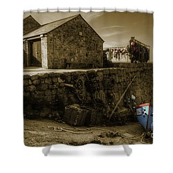 Fishing Boat At Sennen Cove  Shower Curtain by Rob Hawkins