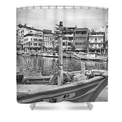 Fishing Boat B W Shower Curtain