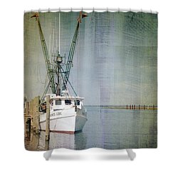 Fishing Boat In Chincoteague Shower Curtain