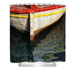 Fishing Boat In Greece Shower Curtain by Mike Santis