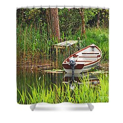 Fishing Boat Shower Curtain by Mary Carol Story