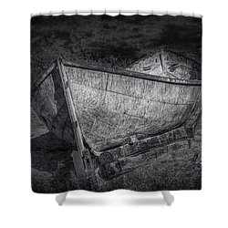 Fishing Boat On Shore In Black And White Shower Curtain by Randall Nyhof