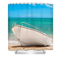 Fishing Boat On The Beach Algarve Portugal Shower Curtain by Amanda Elwell