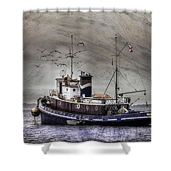 Fishing Boat Shower Curtain by Peter v Quenter