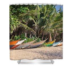 Fishing Boats B Mirissa Beach Shower Curtain by Liz Leyden