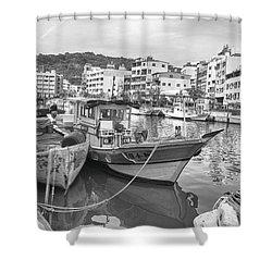 Fishing Boats B W Shower Curtain