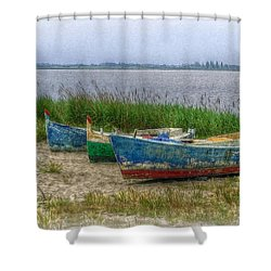 Shower Curtain featuring the photograph Fishing Boats by Hanny Heim