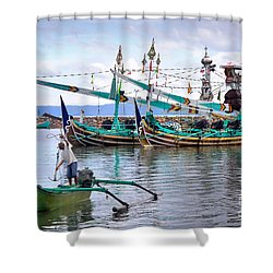 Fishing Boats In Bali Shower Curtain by Louise Heusinkveld