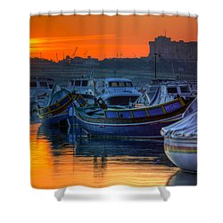 Fishing Boats In Birzebuggia Harbour Shower Curtain
