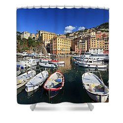 Shower Curtain featuring the photograph fishing boats in Camogli by Antonio Scarpi
