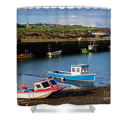 Fishing Boats In The Harbour At Hayle Shower Curtain by Louise Heusinkveld